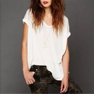 Free People White Burnout T-Shirt NWT